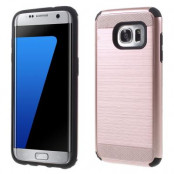 Brushed Hybrid Skal till Samsung Galaxy S7 Edge - Rose Gold