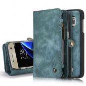 Caseme Retro Plånboksfodral av läder till Samsung Galaxy S7 Edge - Blå