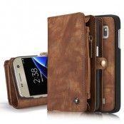 Caseme Retro Plånboksfodral av läder till Samsung Galaxy S7 Edge - Coffee