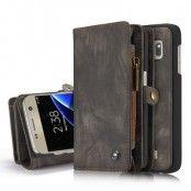 Caseme Retro Plånboksfodral av läder till Samsung Galaxy S7 Edge - Grå