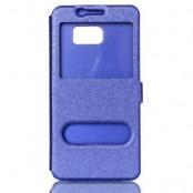 Dual Window Mobilfodral till Samsung Galaxy S7 Edge - Blå