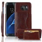 Mobilskal med kortfack till Samsung Galaxy S7 Edge - Brun