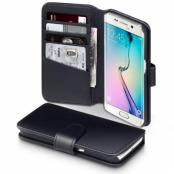 Plånboksfodral av äkta läder till Samsung Galaxy S7 Edge - Svart