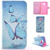 Plånboksfodral till Samsung Galaxy S7 Edge - Blå Fjärilar
