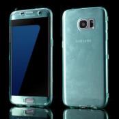 TPU Flip Shell Case till Samsung Galaxy S7 Edge - Ljusblå