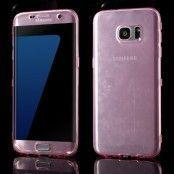 TPU Flip Shell Case till Samsung Galaxy S7 Edge - Ljusrosa