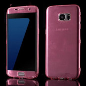 TPU Flip Shell Case till Samsung Galaxy S7 Edge - Mörkrosa