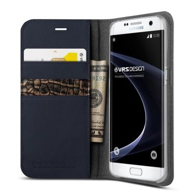 Verus Äkta läder Plånboksfodral till Samsung Galaxy S7 Edge - Blå
