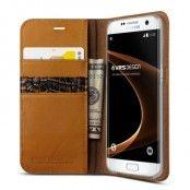 Verus Äkta läder Plånboksfodral till Samsung Galaxy S7 Edge - Brun