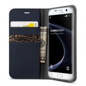 Verus Äkta läder Plånboksfodral till Samsung Galaxy S7 Edge - Mörkblå