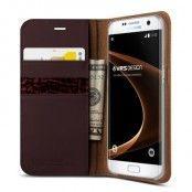 Verus Äkta läder Plånboksfodral till Samsung Galaxy S7 Edge - Wine