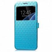 Window Rhombus Mobilfodral till Samsung Galaxy S7 Edge - Blå