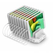 Deltaco USB Laddningsstation 9xUSB-A 1xUSB-C, QC 3.0 - Vit