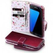 Floral Plånboksfodral till Samsung Galaxy S7 - Röd