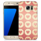 Skal till Samsung Galaxy S7 - Retro hjärtan - Rosa