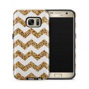 Tough mobilskal till Samsung Galaxy S7 - Ränder - Vit/Guld
