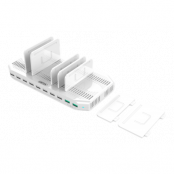 Deltaco USB Laddningsstation 10xUSB-A, Quick Charge 3.0 - Vit