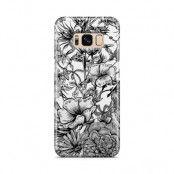 Skal till Samsung Galaxy S8 - Blommor - Svart/Vit