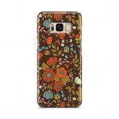 Skal till Samsung Galaxy S8 - Retro Blommor - Brun