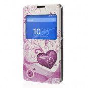 MobilFodral med fönster till Sony Xperia E4 - Två Hjärtan (Vit)