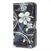 Plånboksfodral till Sony Xperia E4 - Svart Blomma