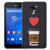 Skal till Sony Xperia E4g - I love coffe - Svart