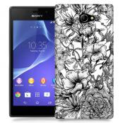 Skal till Sony Xperia M2 - Blommor - Svart/Vit