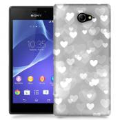 Skal till Sony Xperia M2 - Hjärtan - Grå
