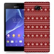 Skal till Sony Xperia M2 - Juldekor - Röd/Vit