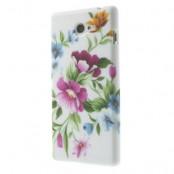 Skal till Sony Xperia M2 - Rosa Blommor