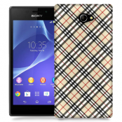Skal till Sony Xperia M2 - Rutig diagonal - Beige