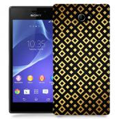 Skal till Sony Xperia M2 - Rutmönster - Svart/Guld