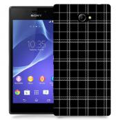 Skal till Sony Xperia M2 - Sömmar - Rutmönster Svart