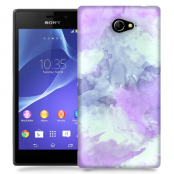 Skal till Sony Xperia M2 - Vattenfärg - Lila/Ljusblå