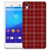 Skal till Sony Xperia M4 Aqua - Sömmar - Rutmönster Röd