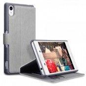 Slim Book Plånboksfodral till Sony Xperia M4 Aqua - Grå