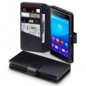 Plånboksfodral av äkta läder till Sony Xperia M5 - Svart