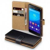 Plånboksfodral till Sony Xperia M5 - Svart/Brun
