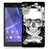 Skal till Sony Xperia T3 - Blommig dödskalle - Svartvit