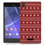 Skal till Sony Xperia T3 - Juldekor - Röd/Vit