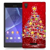 Skal till Sony Xperia T3 - Julgran - Röd