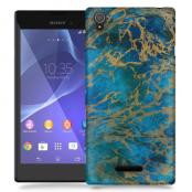 Skal till Sony Xperia T3 - Marble - Blå