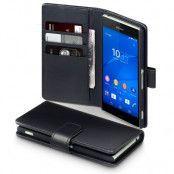 Exklusiv Äkta Läder Plånboksfodral till Sony Xperia Z3 - Svart
