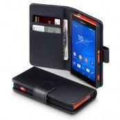 Plånboksfodral av äkta läder till Sony Xperia Z3 compact - Svart