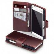 Plånboksfodral av äkta läder till Sony Xperia Z5 compact - Brun