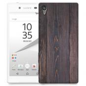 Skal till Sony Xperia Z5 Premium - Mörkbetsat trä