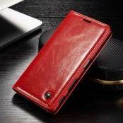 Caseme Oil Wax Plånboksfodral till Sony Xperia Z5 - Röd