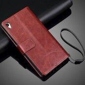 Plånboksfodral läder till Sony Xperia Z5 - Brun