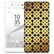Skal till Sony Xperia Z5 - Rutmönster - Guld/Svart